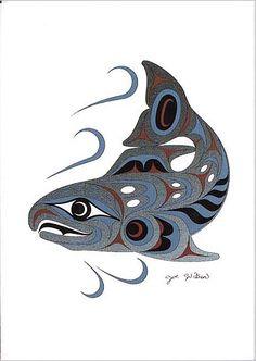 Joe Wilson Salish Art Card Design Spawning Salmon | eBay