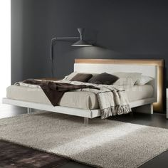 Rossetto USA Libriamo Bed with LED Light in White/Brown by Rossetto Furniture