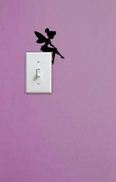 Painted Tinkerbell silhouette sitting on light switch. Would look so cute matched with a glittery light switch cover. DIY Inspiration for little girls bedroom My New Room, My Room, Little Girl Rooms, Little Girls, Deco Disney, Disney Rooms, Disney House, Disney Girls Room, Disney Themed Bedrooms