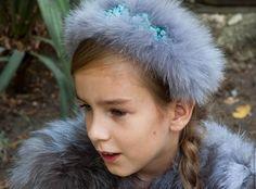 """Купить Ободок из меха """"Нежность"""" - голубой, мех, мех натуральный, песец, ободок для волос, ободок"""