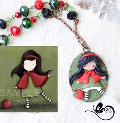 polymer clay necklace / fairy/ fimo/ clay / by ZingaraCreativa