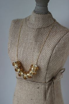 Crystalcut glass beads on a gold plated chain with by chunkysquare, $24.00