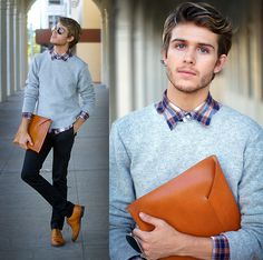 leather envelop man clutch