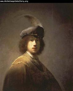 Rembrandt van Rijn, Self-portrait with plumed beret, oil, 1629