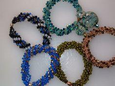 Netted crystal spiral bracelet