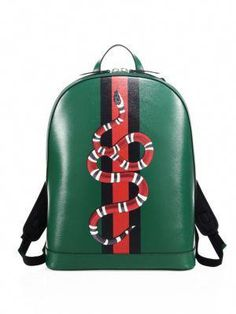 c33f466bc05 Gucci - Green Snake Printed Leather Backpack for Men - Lyst