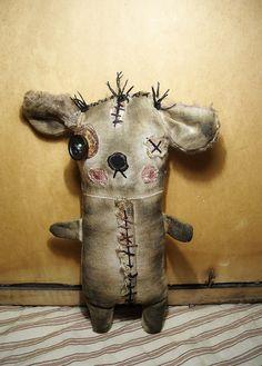 Handmade Art Doll Monster Finny by JunkerJane on Etsy