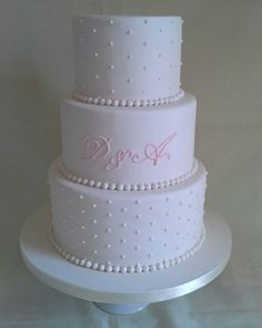 Elegant ivory/pink pearls hand pipped initials created by MJ www.mjscakes.co.nz in sunny Hawkes Bay NZ Pink Pearls, Celebration Cakes, Mj, Initials, Wedding Cakes, Wedding Planning, Ivory, Elegant, Create