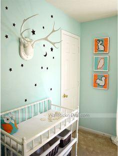 antlers, baby room-love the colors Nursery Themes, Nursery Decor, Room Decor, Themed Nursery, Nursery Ideas, Bedroom Ideas, Boy Room, Kids Room, Retro Stil