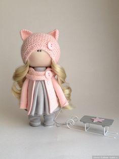 Розовая кошечка с санками / Авторские куклы (ООАК) / Шопик. Продать купить куклу / Бэйбики. Куклы фото. Одежда для кукол