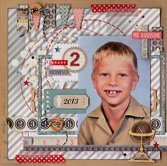 Colorful Memories: Grade 2 layout with He Said She Said collection from Teresa Collins