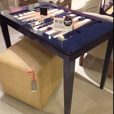 Oomph Backgammon Table in Ralph Lauren's Club Navy.  Y'all know I have a major crush on navy!  This fab game table is available in all of Oomph's stylish colors.  Let's play y'all!!! #IHFC