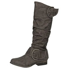 Grey Leather Boots on Overstock