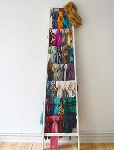 If youve got it flaunt it. Scarf Organization, Home Organization, How To Store Scarves, Storing Scarves, Organizing Scarves, Hang Scarves, Scarf Display, Scarf Storage, Storage For Scarves