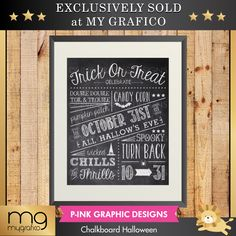 Chalkboard Halloween - perfect for print to enhance your Halloween décor.