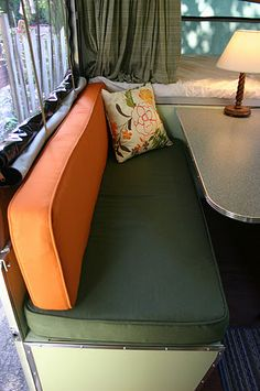tent camper restoration -- nice ideas for my boler. Love the colors.