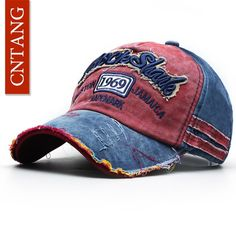 4abb514a693 CNTANG Summer Fashion Vintage Baseball Cap Casual Washed Cotton Snapback  Embroidery Caps For Men
