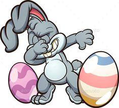 Dabbing Easter Bunny - Photoshop PSD, Vector EPS