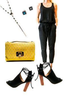 "Adorable Yellow & Black Outfit Available @ Sole Mates Inc  CHAN LUU, DAGGER NECKLACE    WORKHORSE ""PAULINA"" EARRINGS   WILT, TANK JUMPSUIT   TREESJE ""HARLOW"" HANDBAG   SPLENDID ""JAYLEN"" SHOES"