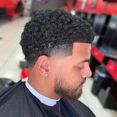 Afro Fade Haircut, Black Man Haircut Fade, Temp Fade Haircut, Black Hair Cuts, Black Boys Haircuts, Taper Fade Haircut, Black Men Hairstyles, Afro Hairstyles, Taper Fade Curly Hair