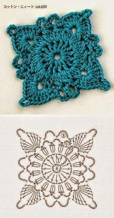 6 patrones de grannys al crochet | Crochet y Dos agujas ༺✿ƬⱤღ✿༻                                                                                                                                                                                 Más