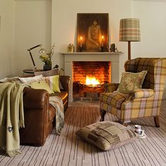 Earth-toned living room | Winter decorating | PHOTO GALLERY | Country Homes & Interiors | Housetohome.co.uk