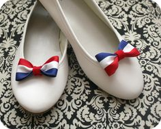 Vive la France - Blue white and red bow shoe clips - (2 pcs)