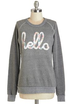 Howdy Do Sweatshirt in Grey. Greeting folks with your infectious smile and this heathered-grey sweatshirt by Hello Apparel is sure to get you big grins in return! #grey #modcloth