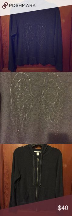 Jersey knit VS zip up hoodie Back of hoodie is crystal angel wings. Hood strings are velour ribbon. Perfect condition no pilling or crystals missing. Very cute with jeans or yogas for running errands Victoria's Secret Tops Sweatshirts & Hoodies