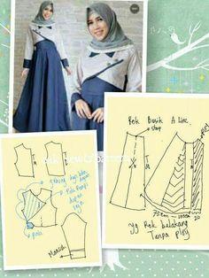 Dress Sewing Patterns, Clothing Patterns, Fashion Sewing, Diy Fashion, Estilo Abaya, Muslim Dress, Sewing Lessons, Pattern Drafting, Muslim Fashion