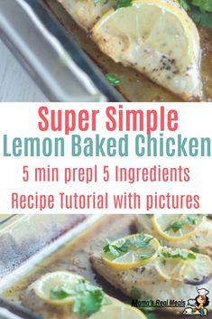 Need a easy chicken recipe? We love this super simple lemon baked chicken! With only a few ingredients and less than 5 minutes prep what's not to love about this easy chicken recipe? Clean Eating Chicken, Clean Eating Dinner, Clean Eating Recipes, Cooking Recipes, Frugal Meals, Easy Meals, Asian Chicken Recipes, Money Saving Meals, Good Healthy Recipes