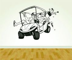 Golf Cart and Golfers Golfing Wall Vinyl Wall Decal Sticker