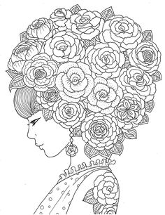 """pour voir la vie en rose"" adult coloring book agenda 2016 on Wacom Gallery Coloring Pages For Grown Ups, Coloring Book Pages, Printable Coloring Pages, Buch Design, Christmas Coloring Pages, Mandala Coloring, Colorful Pictures, Bunt, Embroidery Patterns"