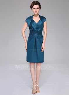 055e01a54e33 Sheath Knee-Length Navy Blue V-Neck Ruched Taffeta Mother Of The Bride Dress  With Jacket Appliques _Mother of the Bride Dresses_Wedding Party  Dresses_Online ...