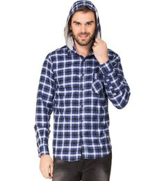 Zovi Blue Checked Hooded Shirt For Men #HoodedShirt