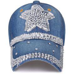 ililily Vintage Denim Star Shaped Rhinestone Embellished Hat Baseball...  ( 17) ❤ 5957862ab67e