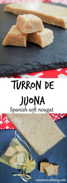 Turron de Jijona (Spanish soft nougat) - made with only a few ingredients and a few minutes, this classic Spanish sweet treat makes a fantastic Holiday food gift, or serve it to guests to round off a meal/accompany a coffee. Healthy Dessert Recipes, Candy Recipes, Fun Desserts, Baking Recipes, Holiday Recipes, Cookie Recipes, Delicious Desserts, Spanish Desserts, Spanish Food
