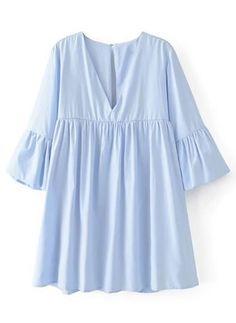 Solid Beading V-Neckline Half Sleeve Shift Dress