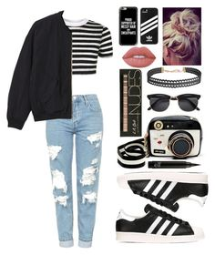 """Striped Shirt!!!"" by theanonymousme ❤ liked on Polyvore featuring Topshop, Monki, Betsey Johnson, Humble Chic, Lime Crime, adidas, Casetify, adidas Originals and stripedshirt"