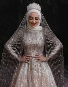 Sparkly Muslim long sleeve sequins Wedding Gown with cou. Sparkly Muslim long sleeve sequins Wedding Gown with cour train Tesettür Modelleri Hijabi Wedding, Muslimah Wedding Dress, Muslim Wedding Dresses, Muslim Brides, Bridal Dresses, Bridesmaid Dresses, Muslim Women, Wedding Bridesmaids, Wedding Abaya