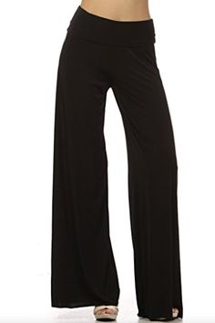 Womens Fold Over Waist Wide Leg Palazzo Pants (Small, Solid Black) -- Click image to review more details.