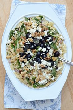 Orzo, Grape, Feta Salad - via From Valerie's Kitchen
