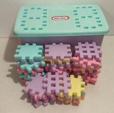 Vintage Lot of 36 Little Tikes Wee Waffle Blocks Pastel W/ Storage Tub & Vtg Little Tikes Party Play Kitchen Hutch Cabinet Pantry Child Size ...