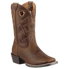 10010910 Ariat Kid's Charger Western Boots - Distressed Brown www.bootbay.com