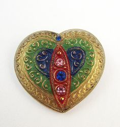 vintage button  Colors of My Heart by Cricketbuttons on Etsy, $12.30