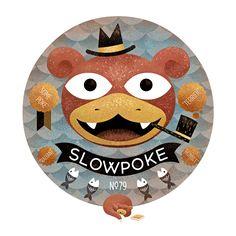Slowpoke by Scott Benson  http://www.bombsfall.com/    151 pokemons 151 artists  http://pokemonbattleroyale.tumblr.com
