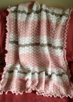Baby blanket made with snapdragon pattern.