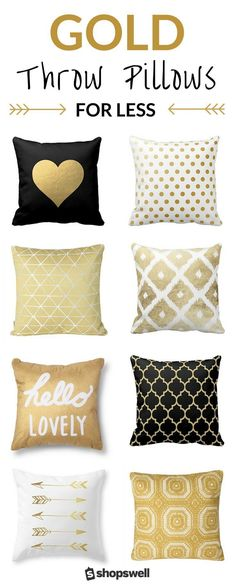 gold touch to your living space with one of these 20 chic, frugal, and fab throw pillows. Shop the collection now!Bring the gold touch to your living space with one of these 20 chic, frugal, and fab throw pillows. Shop the collection now! Living Room Colors, Living Room Decor, Living Spaces, Bedroom Decor, Bedroom Ideas, Living Rooms, Bedroom Colors, Gold Room Decor, Wall Decor