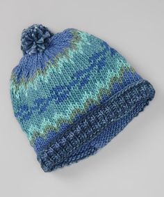 Take a look at this Teal & Purple Icelandic Pom-Pom Beanie by The Sweater Venture on #zulily today!