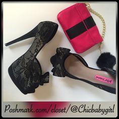 """#JUSTIN ✨ [BETSEY JOHNSON] VAIL LACE PLATFORM PUMP Size--9.5 With Tags $139 RETAIL + Tax   Say hello to your favorite pretty pair! Perfect for date night, prom or bridesmaids.  *Floral embroidery lace uppers *Padded footbed *Wrapped heels   *Peep-toe with lace bow *Platform 1"""" *Wrapped heel 4"""" *Runs True To Size   2+ BUNDLE=SAVE  ‼️NO TRADES--NO HOLDS--NO MODELING   Brand Name Items Authentic   ✈️ Ship Same Day--Purchase By 2PM PST    USE BLUE OFFER BUTTON TO NEGOTIATE   ✔️ Ask Questions Not…"""